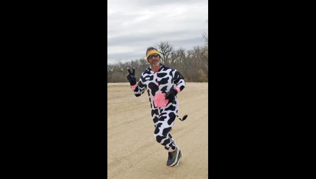 Mike Vetter won the funniest costume as a dairy cow.