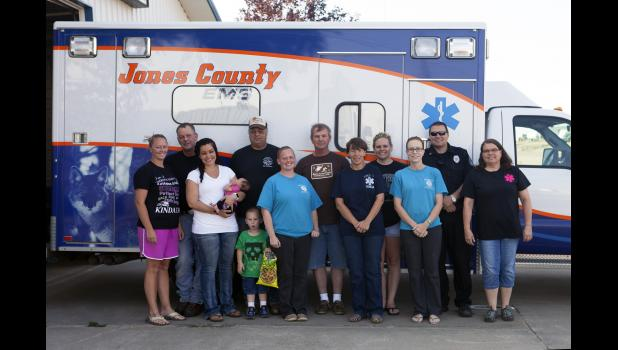 Several of the faces behind the Jones County Ambulance Service are pictured above (L-R): LaTonya Erikson, Brett Anderson, Becca Miller, Greg Boyles, Beth Newbold, Jerry Hatheway, Teresa Hatheway, Kayla O'Dell, Kari Harter, Heath Harter and Tammy Van Dam.