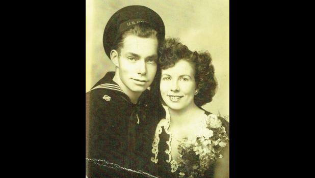 This wedding photo of John Kuchenbecker and Gladys (Hanrahan) is the only available photo of John in his Navy uniform.