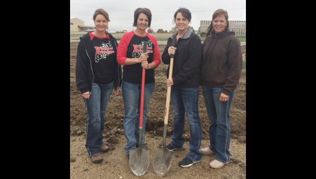 Misty Williams, Dana Keffeler, owner, Claudine Afdahl, and Ashley Price broke ground last week for the new building. Not pictured: Michele Hulm and Judy Matt.