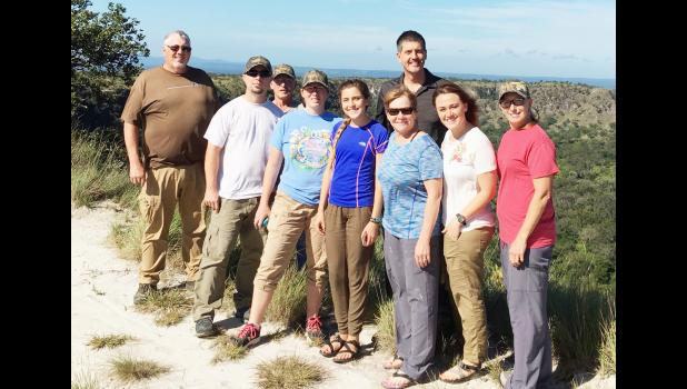 The NUCC mission team traveled into the mountains of Costa Rica several times during their trip. Here the team poses with their in-country missionary contact. From left are Pastor Wes Wileman, Pastor Frank Culver, Kenny Lee, Pastor Sarah Culver, Dallas Beaumont, Mardi Hulm, Jon Dahlinger (missionary), Jenna Hulm and Kim McGriff.
