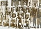 The 1935-36 Tigers. Back, l-r, Mr. Cecil Tobin, Deane Joyce, Eugene Madsen, Gerald English, Edgar Miller, Dale Kent, Wilfred Bruns, Kenneth Duncan. Front: Ernest Nelson, Jay Felton, Donald Dolan.