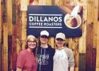 Kerry Burns, Jenny Terkildsen and Trisha Larson pose at the Dillanos Roasters trade show booth. The company helped the three co-owners of ginneys coffee shop get started in the coffee business, including creating the Bad River Coffee Company logo and supplying the coffee.