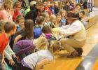 As a Dakota Assemblies representative for the education and entertainment of local elementary students, Arch Ellwein portrayed Teddy Roosevelt, Thursday, April 20, in the Philip gymnasium.